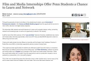 Film and Media Internships Offer Penn Students a Chance to Learn and Network