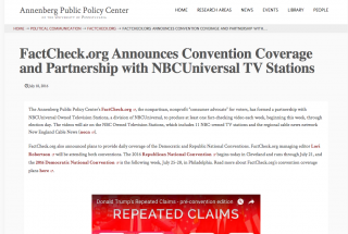FactCheck.org Announces Convention Coverage and Partnership with NBCUniversal TV Stations